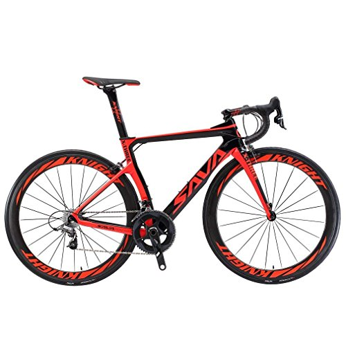 SAVADECK Phantom 2.0 700C Carbon Fiber Road Bike Shimano Ultegra 6800 22 Speed Group Set with Hutchinson 25C Tire and Fizik Saddle (Black Red,50cm)