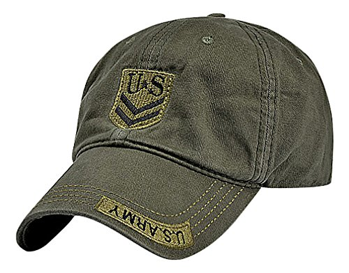 Mancave Unisex Cotton Camo Print Or Solid Color US Army Embroidery Baseball Cap, ArmyGreen One Size