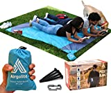 Airgolite Extra Large Picnic Blanket in Your Pocket - Light Blue/Gray - 79''x63'' Packable Outdoors Blanket for Picnics, Camping and Hiking. Comes with a set of 4 black stakes & a toolkit carabiner.
