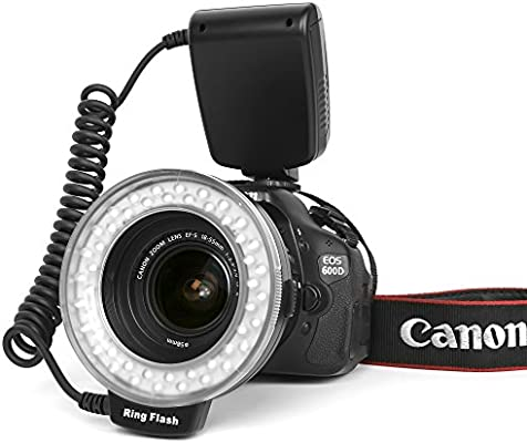 Anillo Flash Macro para Canon 48 Leds y 8 Adaptadores y Difusor de ...