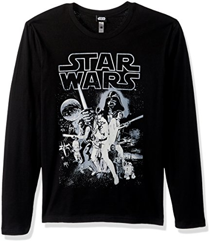 Star Wars Men's Official 'Poster' Graphic Tee, Black Long Sleeve, Medium