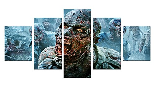 Pictures Of Mother Nature Halloween Costumes (Zombie Apocalypse Canvas Wall Decor - 5 Pieces Appreciation Wall Art - Oil Painting - Unframed - Stuff Birthday Party Gift - Halloween Bathroom Aquarium Themed Decorations #01)