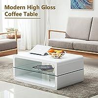 SUNCOO Glass & High Gloss Coffee Table Storage Space W/ 2 Shelves White
