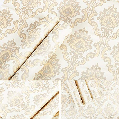 Gold Damask Vintage Wallpaper Adhesive Paper Vinyl Peel Stick Countertops Covering Dresser Drawer Sticker Sheet Roll 17.7inch by 100inch