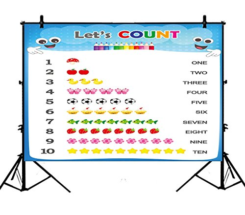 7x5ft Numbers Counting Practice Printable Educational Polyester Photography Backdrop Photography Props Studio Photo Booth Props ()