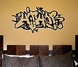 Wall HIP HOP Mural Art Decal STICKER Break Dance Gangsta Poster in Black Vinyl