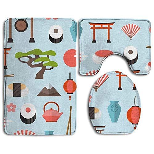 - NEWpapa Cherry Blossoms Sushi 3 Piece Bath Mat Set Pedestal Lid Toilet Cover Rug Bath Mat