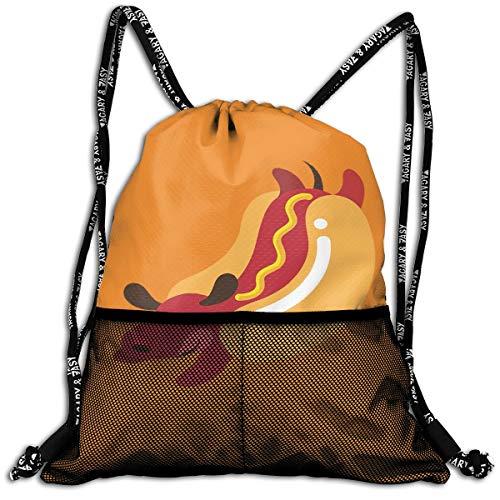 Drawstring Backpacks Hot Dog Leisure Bundle Backpack Beam Backpack Sport Gym Travelling Bag]()