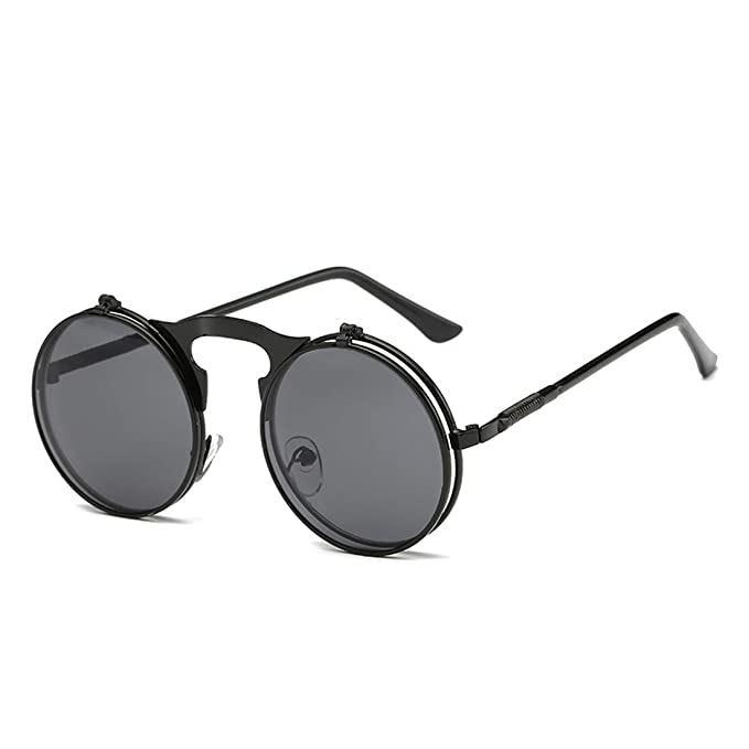 0e27c7cff245 Daxvens Vintage Round Flip Up Sunglasses for Men Women Steampunk Circle Sun  Glasses  Amazon.in  Clothing   Accessories
