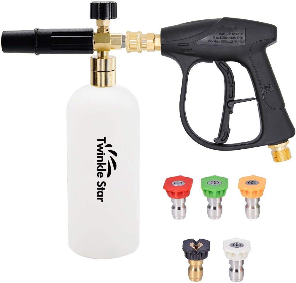Twinkle Star Pressure Washer Gun Snow Foam Lance Cannon Foam Blaster, with Pressure Washer Nozzle Tip, Jet Wash Gun 3000 PSI