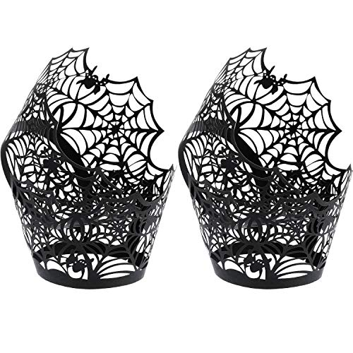 Boao 100 Pieces Spiderweb Cupcake Wrappers Laser Cut Cupcake Liners for Halloween Party Wedding Birthday Muffin Decoration (Black)