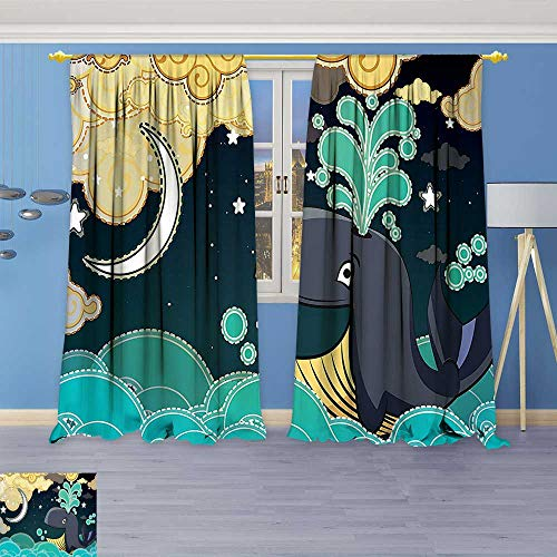 Philiphome Blackout Burgundy Curtains Stars Special Edition Wall Art Prints ation Collection House Ideas Fabric Turquoise Teal for Bedroom/Living Room 80% Privacy Panel Drapes