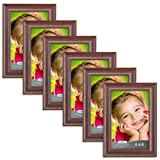 4x6 picture frames - Icona Bay 4x6 Picture Frames 4x6 (6 Pack, Teak Wood Finish), Photo Frames for Walls or Tables, 4 by 6 Frames for Family, Grandma, Baby, Wood Picture Frames, Lakeland Collection
