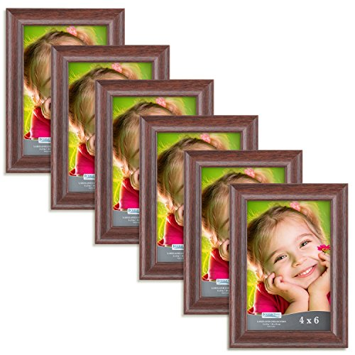 (Icona Bay 4x6 Picture Frames 4x6 (6 Pack, Teak Wood Finish), Photo Frames for Walls or Tables, 4 by 6 Frames For Family, Grandma, Baby, Wood Picture Frames, Lakeland Collection)