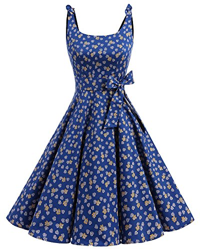 Bbonlinedress 1950's Bowknot Vintage Retro Polka Dot Rockabilly Swing Dress RoyalBlue Leaves M