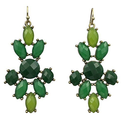 (Abstract Colorful Cluster Gold Tone Dangle Boutique Style Earrings (Green Tones))