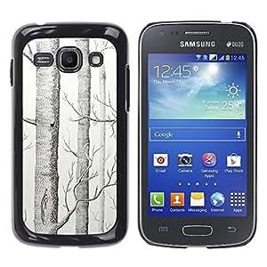 Caucho caso de Shell duro de la cubierta de accesorios de protección BY RAYDREAMMM - Samsung Galaxy Ace 3 GT-S7270 GT-S7275 GT-S7272 - Tree White Art Pencil Drawing