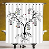 Decorative Shower Curtain 3.0 [Flying Birds Decor,Silhoutte of a Scary Winter Tree and Colorful Love Birds Sitting in Cage Artprint,Black White] Waterproof and Mildewproof Polyester Fabric Bath Curtai