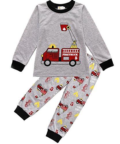 Boys Pajamas Fire Truck 100% Cotton Toddler Pjs 2 Piece Kids Sleepwear Clothes Set 2T-7T