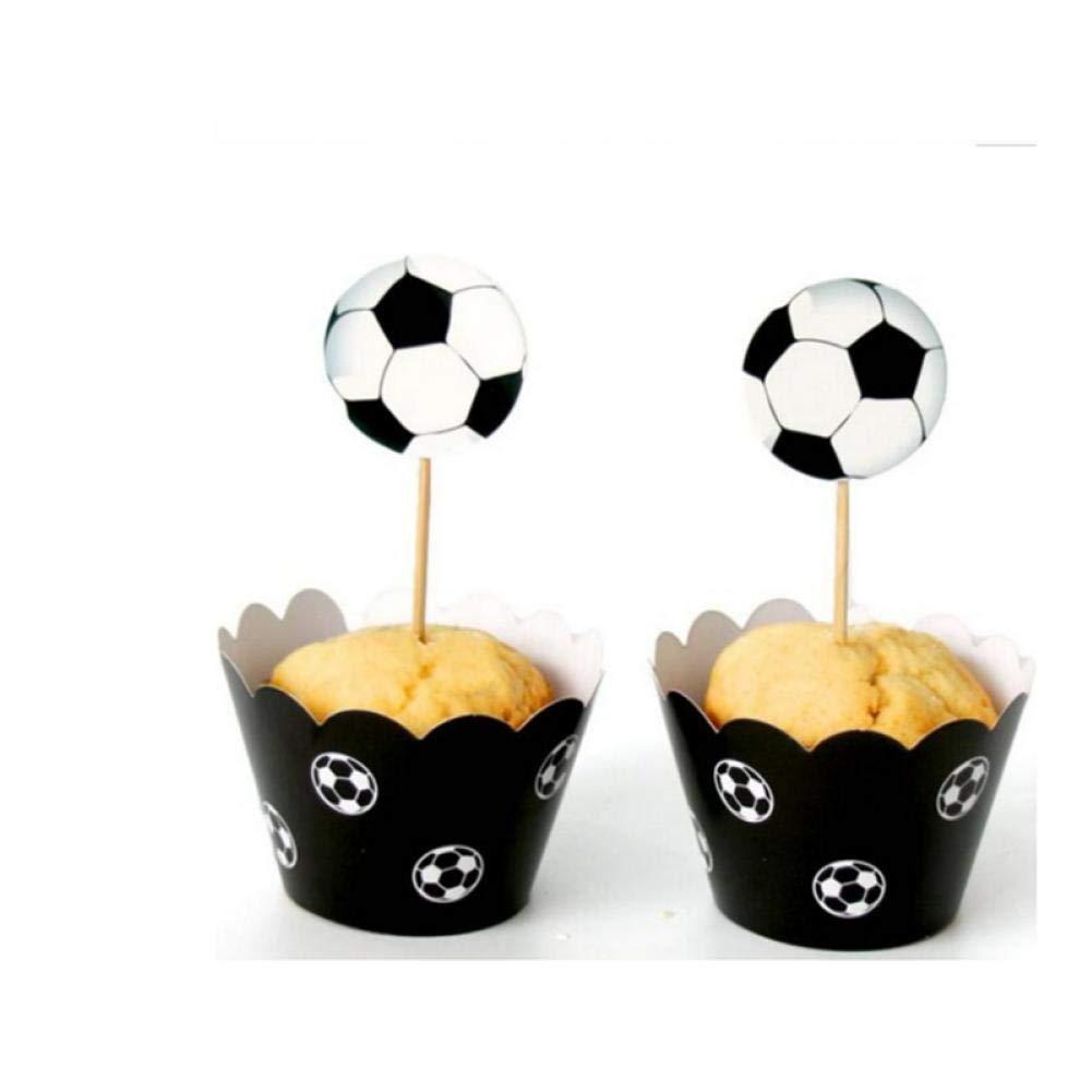 12 + 12 Involucri Topper stampi Lot Calcio Carta Involucri del bign/é per Bambini Festa di Compleanno della Decorazione della Torta Coppe PiniceCore 24pcs