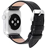 Apple Watch Bands 38mm, Fullmosa Jan Series Lichi Calf Leather Replacement Band/Strap with Stainless Steel Clasp for Apple iWatch Series 1 & 2 Sport and Edition Versions 2015 2016,Black