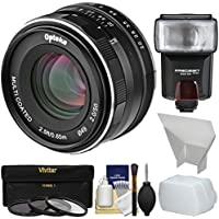 Opteka 50mm f/2 HD MF Prime Lens with 3 UV/CPL/ND8 Filters + Flash + Diffusers + Kit for Fujifilm X-Series Digital Cameras