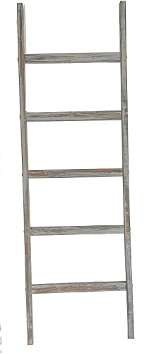 Vita Haus Rustic Blanket Ladder – 5 Tall – Decorative Farmhouse – Reclaimed Wood – Wooden Shelf – Throw Storage -Towel Ladder