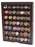 Military Challenge Coin Poker Chip Display Case Shadow Box Cabinet