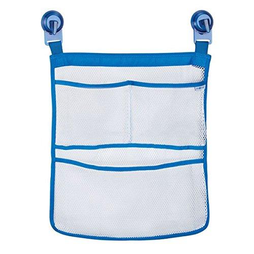 InterDesign ID jr Kids-Children Shower and Bathtub Mesh Storage Caddy Organizer with Power Lock® – 3 Pockets – White/Blue 09630