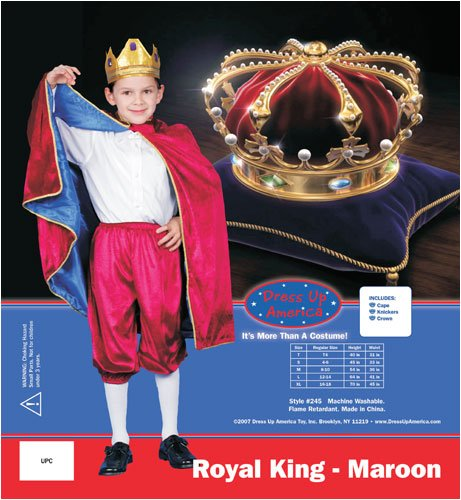 Deluxe Royal King Dress Up Costume Set - Maroon - Small 4-6