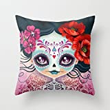 Decorative Square Pillow Case Cushion Cover 22X22 Inches Amelia Calavera Sugar Skull