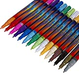 Acrylic Paint Pens - 15 Colors, Extra Fine Point Tip Water Based Paint Markers for Painting Rocks, Wood, Glass, Ceramic, Metal, Canvas, Paper