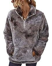 LIVACASA Sweatshirt dames winter warme hoodie oversized zacht meisjes teddy fleece pullover pluizige wintertrui sweater lange mouwen trui met grote zak 12 kleuren