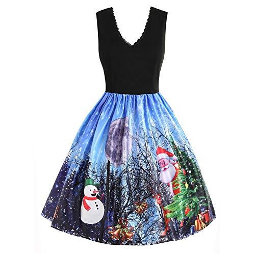 Sunhusing Ladies Christmas Novelty Lace Trim V-Neck Sleeveless Vintage Flare Dress Snow Xmas Printed Skirt ()
