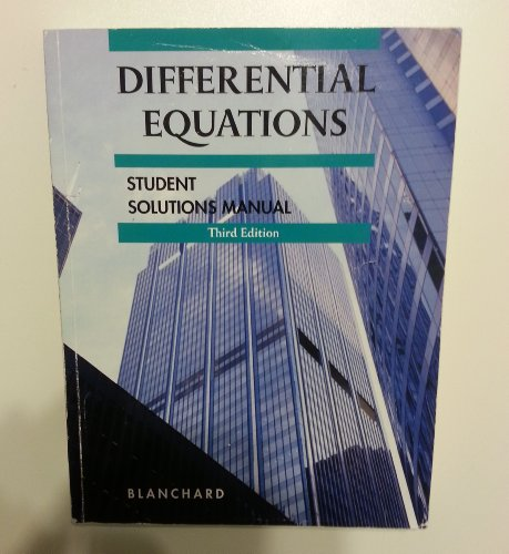 Differential Equations 3rd Edition Student Solutions Manual