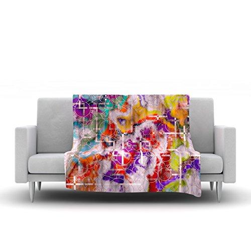 80 by 60 Kess InHouse Michael Sussna Quantum Foam Rainbow Geometric Fleece Throw Blanket
