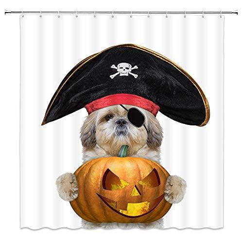 (Halloween Shower Curtain Decor Dog With Pirate Hat Orange Pumpkin Lantern Jack-o-lantern Yellow Fire Bathroom Curtain 70 x 70 Inches Waterproof Polyester Fabric Machine Washable With 12pcs Hooks)