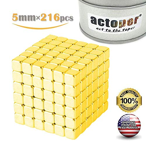 actoper Golden Magnetic Cube 5mm 216pcs Magnets Blocks Multi-Use Square Cube Magnets Toy Stress Relief Toys for Kids (golden5216)