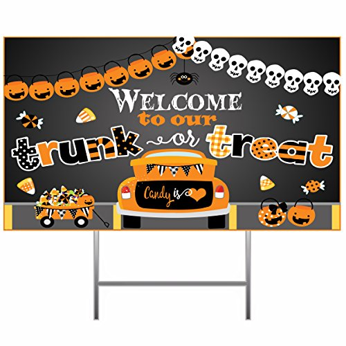 Silly Goose Gifts Welcome to Our Trunk Or Treat ~ Halloween Trick Or Treat Candy Decoration Poster Banner ()