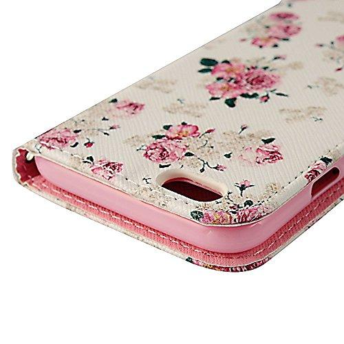 Flip Case Cover Wallet Folio Schutzhülle für iPhone 6 4.7 Zoll Pink Blume Weiß Tasche Ledertasche Hülle Handyhülle Etui Schale Backcover im Bookstyle mit Standfunktion Kredit Kartenfächer