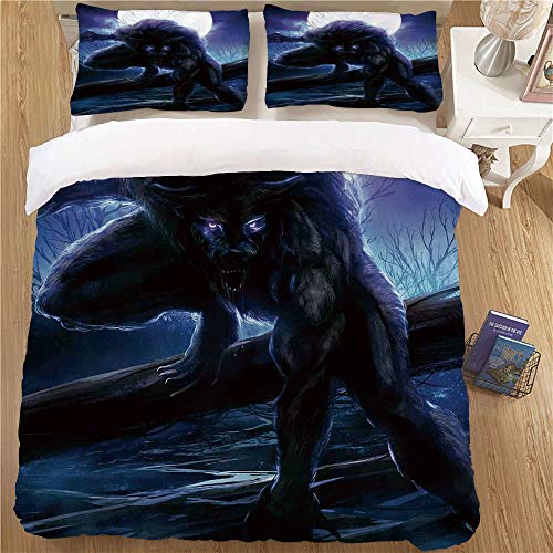 Bedding Set with Pillow Shams,King Size,3pc for Children's Bedroom Fantasy World Surreal Werewolf with Electric Eyes in Full Moon Transformation Folkloric Purple Blue]()
