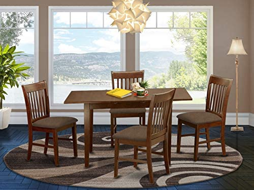 East West Furniture Nofk5 Mah C 5 Piece Dining Set 4 Dining Room Chairs And A Wooden Table Rectangular Table Top Slatted Back And Linen Fabric Seat Mahogany Finish Furniture Decor Amazon Com
