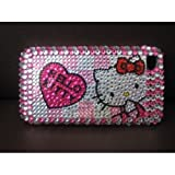 Smile Case Hello Kitty Bling Rhinestone Crystal Jeweled Snap on Full Cover Case for AT&T Verizon iPhone 4 4G (4-Four Hearts)