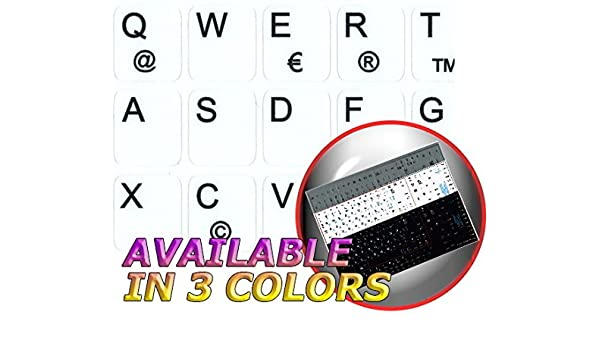 Silver Background GERMAN NOTEBOOK NON-TRANSPARENT KEYBOARD LABELS LAYOUT BLACK WHITE OR SILVER BACKGROUND