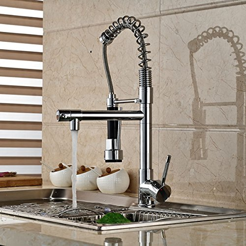 Senlesen Chrome Pull Out Down Spray Deck Mount Kitchen Torneira Cozinha Tap Mixer Cock Faucet with Hot and Cold Water by Senlesen (Image #4)