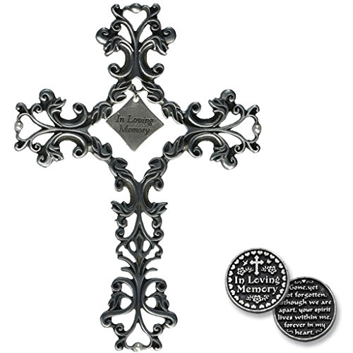 Cathedral Arts Pewter in Loving Memory Filagree Cross with Inspirational Pocket ()