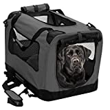 2PET Foldable Dog Crate - Soft, Easy to Fold & Carry Dog Crate for Indoor & Outdoor Use - Comfy Dog Home & Dog Travel Crate - Strong Steel Frame, Washable Fabric Cover - Extra Large, Grizzle Grey