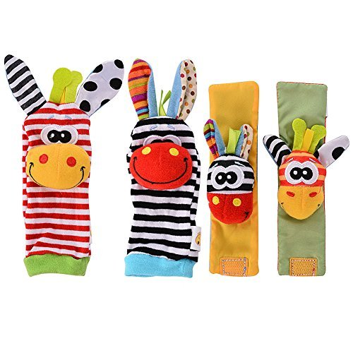 Acekid Baby Wrist Rattles Hands Foots Finders Infant Baby Soft Education Development Toy