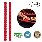 silicon oven rack edge guard - Silicone Oven Rack Shields - 2PCS Oven Shelf Rack Guard - Heat Resistant Silicone Edge Liner Cover, Oven Rack Protectors , Oven Accessories to Protect Against Burns and Scars when Baking (Red)
