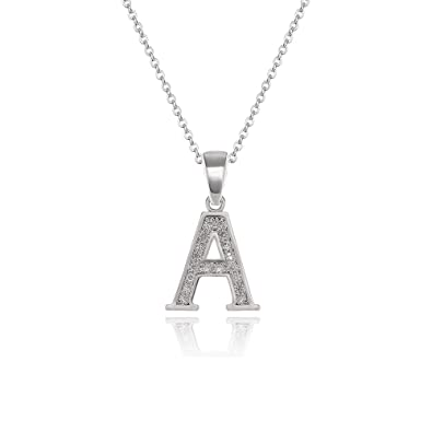 045bc79262 OVLIST Simple Letter A Pendant Necklace Cubic Zirconia 18k White Gold  Elegant Charm Pendant Jewelry for